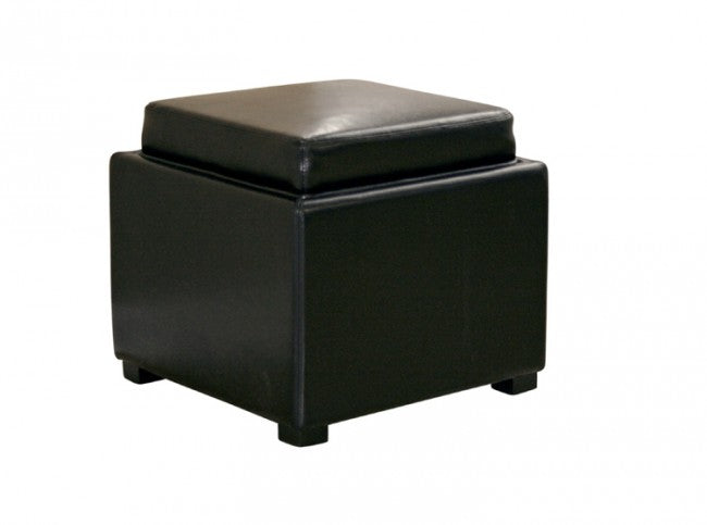 Bastien Black Leather Storage Ottoman