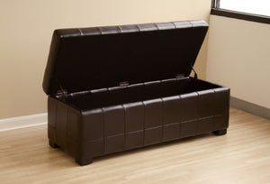 Aude Dark Brown Tufted Leather Storage Ottoman