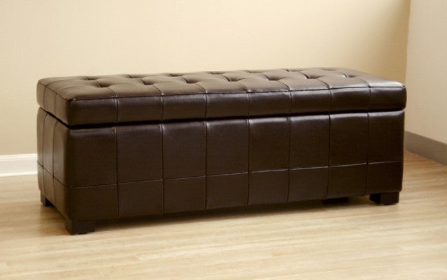 Wondrous Aude Dark Brown Tufted Leather Storage Ottoman Ncnpc Chair Design For Home Ncnpcorg