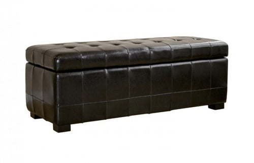 Aude Black Tufted Leather Storage Ottoman