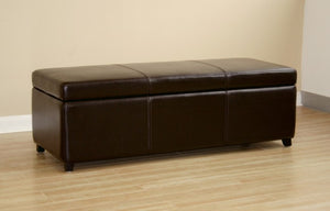 Perrin Dark Brown Leather Storage Ottoman Bench