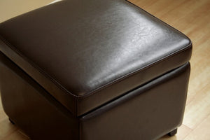 Emeric Dark Brown Square Leather Storage Ottoman