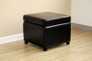 Emeric Black Square Leather Storage Ottoman