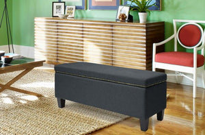 Solippa Gray Modern Storage Ottoman Bench