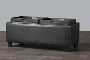 Billiard Black Tray Storage Ottoman