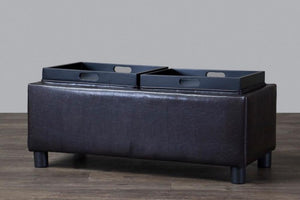 Billiard Brown Tray Storage Ottoman