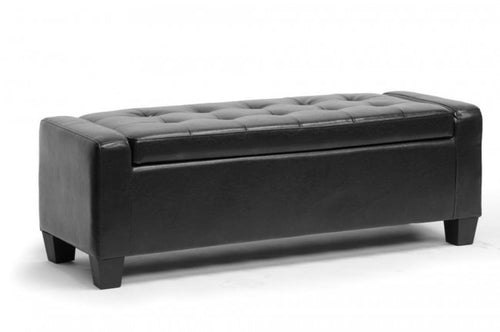 Manchester Black Leather Storage Ottoman Bench