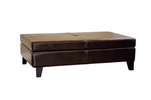 Mireio Dark Brown Leather Storage Ottoman