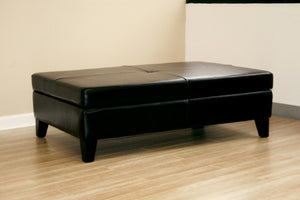 Mireio Black Leather Storage Ottoman