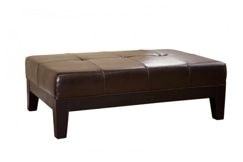 Sandrine Dark Brown Leather Cocktail Ottoman