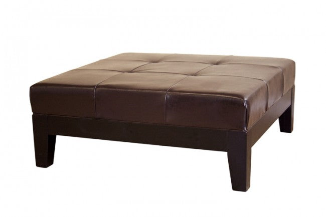 Tullio Dark Brown Leather Cocktail Ottoman