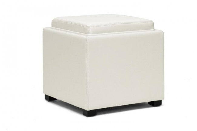 Liora Cream Leather Storage Cube Ottoman