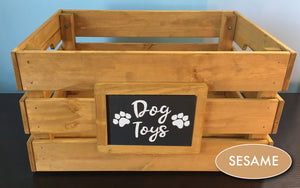Dog or Cat Pet Toy Personalized Organization Storage Wood Crate, Farmhouse Look,Rustic Home Decor