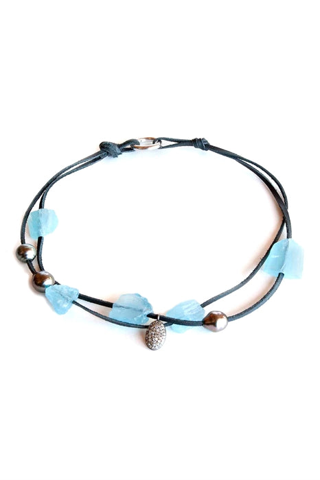 Aquamarine & Diamond Choker
