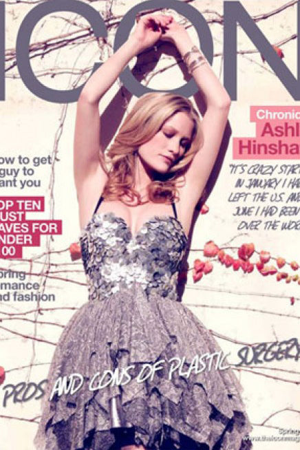 Ashley Hinshaw wearing Sterling Silver Chunky Wave Necklace as a bracelet on the  cover of Icon Magazine.