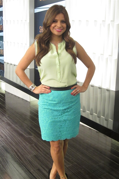 E!News star Kristina Guerrero wearing Aspen Cuff with Embossed Leather