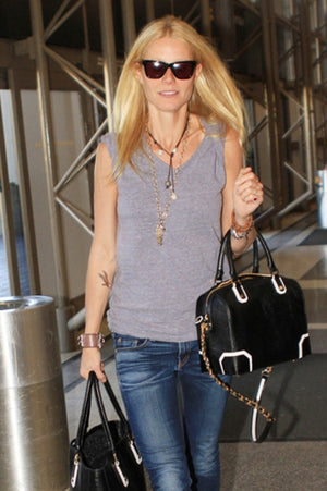Gwyneth Paltrow wearing Tahitian + South Sea Lariat on leather-get the look