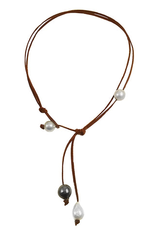 6 South Sea + Tahitian Knotted Lariat