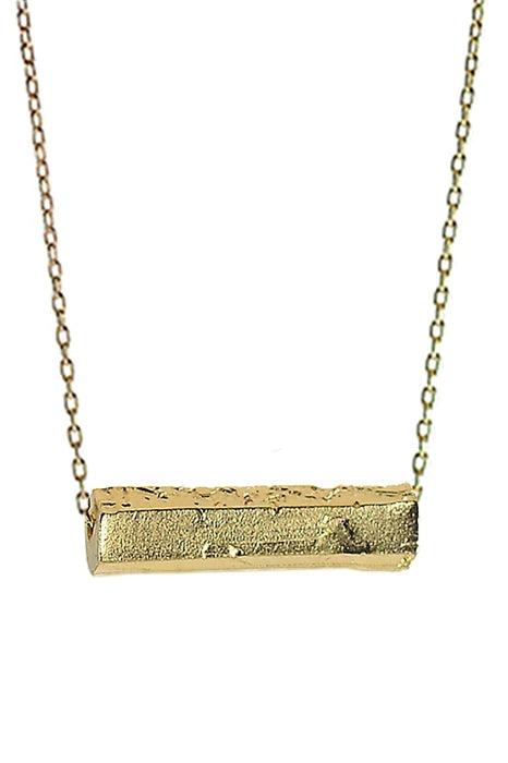 Chiseled Gold Bar Necklace