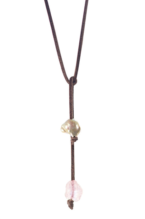 Pink Gold Pearl Lariat with Rose Quartz