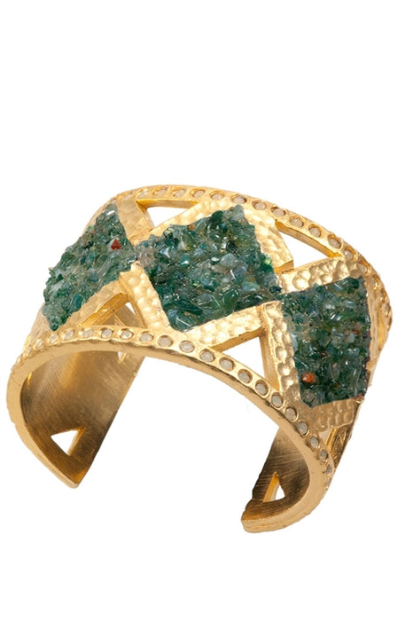 Aspen Sojourner Magazine showing Crushed Cuff with Green Moss Agate And Gold