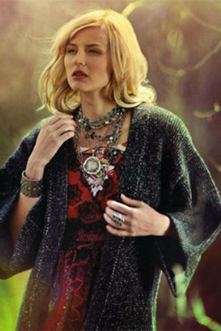 Langley Fox for Nylon Magazine Mexico wearing Montauk Pebble Necklace With Mixed Metals