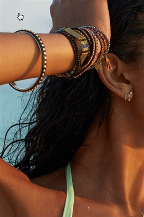 Chanel Iman from Sports Illustrated Swimsuit Edition wearing Studded Gold Bangle -Black