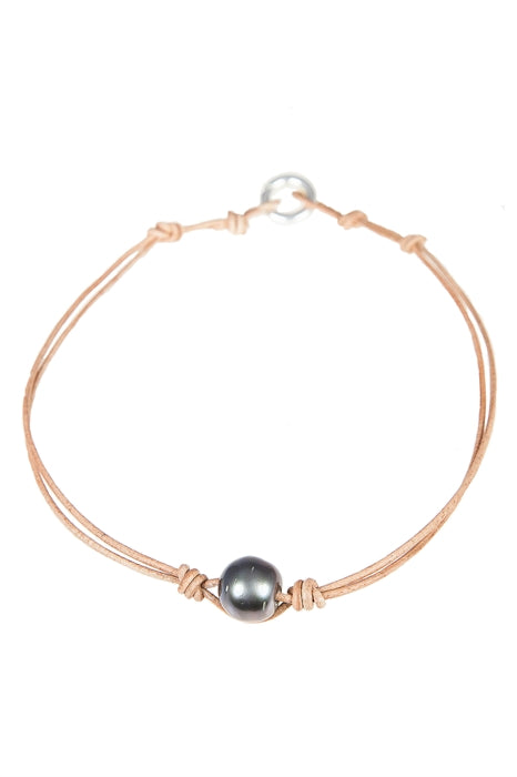Single Tahitian Pearl Choker-Natural Leather