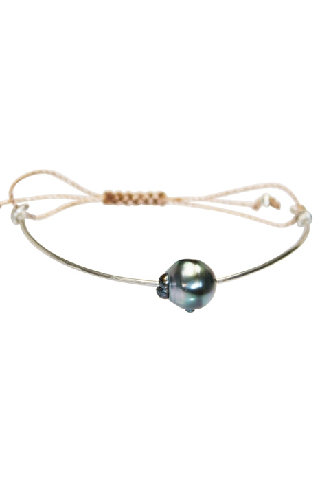 Wire Bangle - Tahitian Pearl & Rose Gold