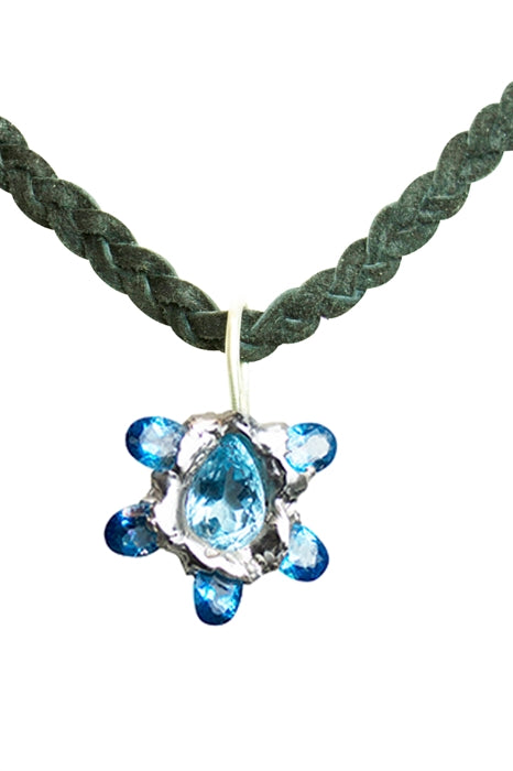 Blue Topaz Sculptured Pendant-Leather