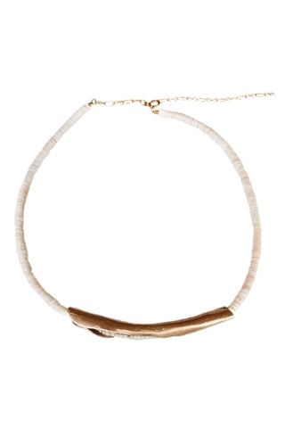 Pink Fresh Water Baroque Pearl Choker-Natural Leather