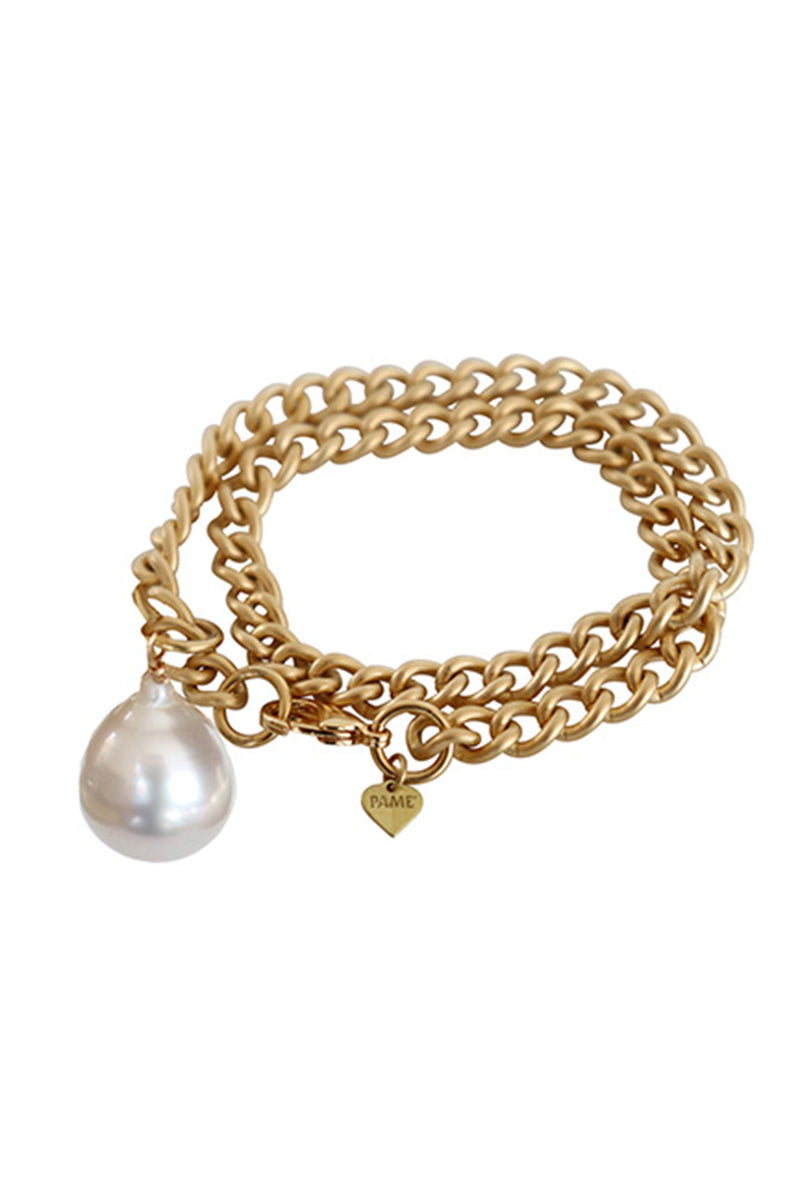 Cuban Rocker Chain Bracelet with Baroque Pearl