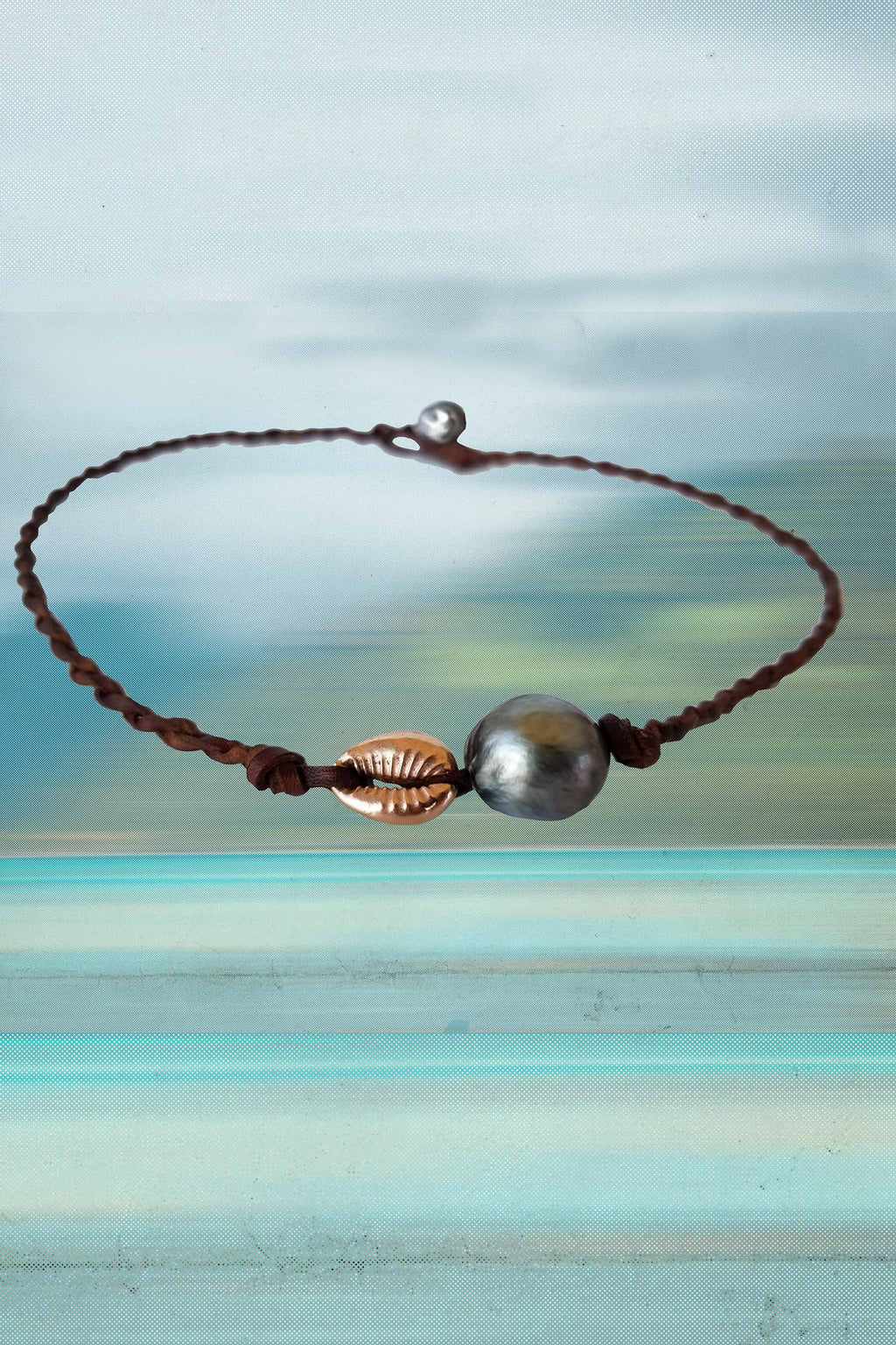 Rose Gold Cowrie + Pearl Braided Necklace