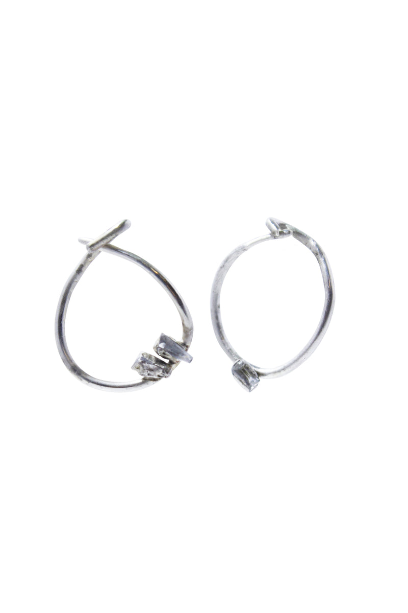 Buried Sapphire Hoop Earrings