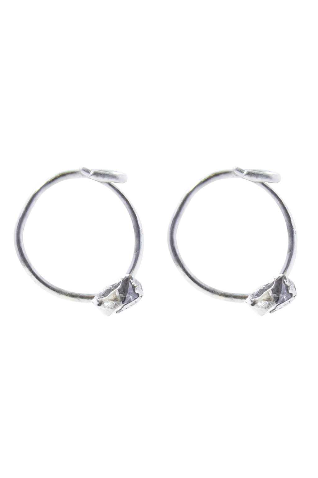 Buried Sapphire Hoop Earrings-II