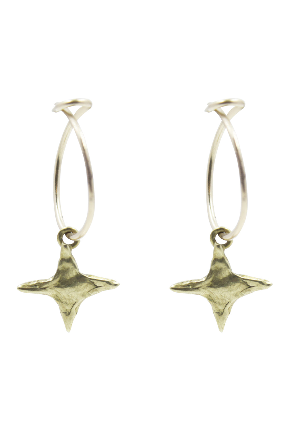 Hammered Star Hoop Earrings