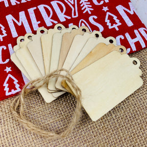 Wooden Gift Tag 10pc (includes string)