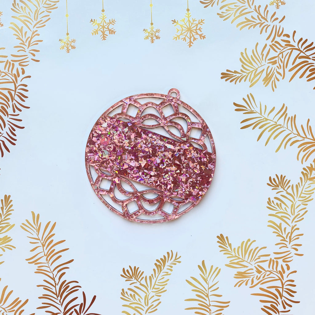 Lacey Trim Acrylic Christmas Bauble