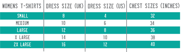 Size Chart for Womens T-Shirt