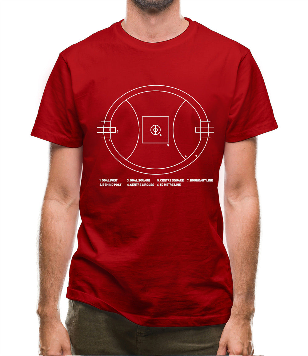 Aussie Rules Ground Diagram Mens T-Shirt