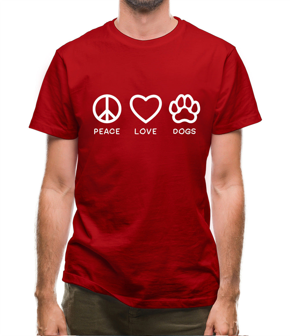 Peace, Love And Dogs Mens T-Shirt