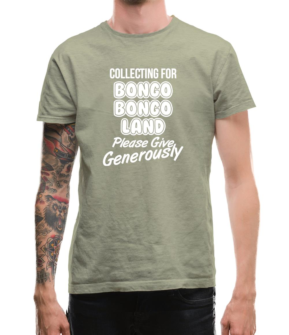 Collecting for Bongo Bongo Land Please Give Generously Mens T-Shirt