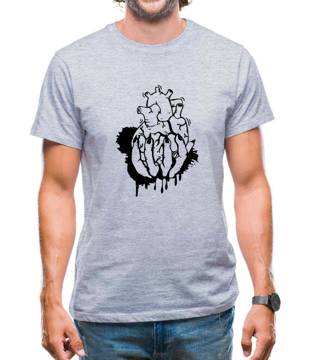 Hand Heart Burst Top Mens T-Shirt