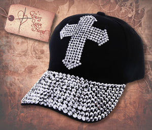 Cap with Jeweled Cross & Brim - Black