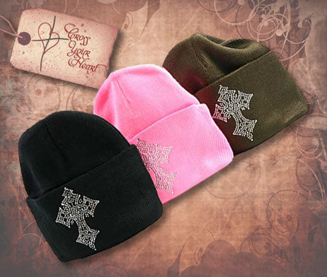 Beanie with Rhinestone Cross