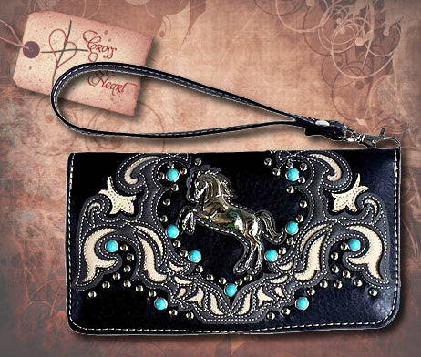 Clutch Wallet with Silver Horse - Black