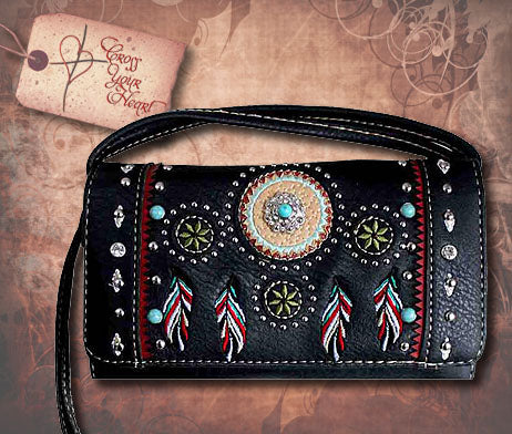 Clutch Wallet with Indian Feather Design - Black