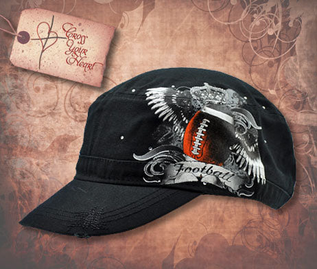 Cap with Football & Wings - Black