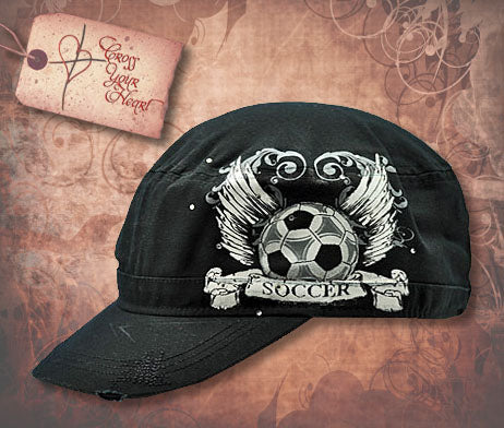 Cap with Soccer Ball & Wings - Black
