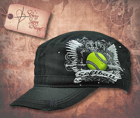 Cap with Softball & Wings - Black